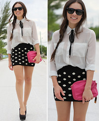 Daniela Ramirez - Batoko Polka Dot Skirt, Forever 21 White Blouse, Furor Sunglasses, Remi And Emmy Bag, Payless Shoes - Polka dotted