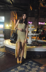 Jessie Kim - Forever 21 Yellow Irregular Dress, Ms.Marie Black Leather Bag, Goldish Yellow Wedge - Gold
