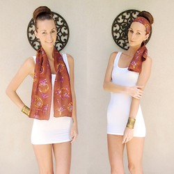 Sarah Jane D - Sudan 100% Silk Batik Scarf, Forever 21 Gold Cuff - Batik scarf made by my mom :)
