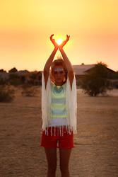 Heather Bybee - Pacsun Knitted Poncho, Ae Coral Shorts, Ae Popsicle Colored Crop Top, Forever 21 Minty Necklace - Aboriginal sunset