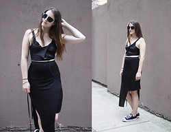 Charlie M - Miu Noir Sunglasses, Helmut Lang Twisted Crop, Charlie May Satin Wrap Skirt, Nicolas Andreas Taralis Slit Skirt, Converse Jack Purcell - THE MANY SHADES OF GREY