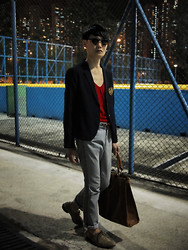 Edward Poon - Induhomme V Neck Shirt, Initial Stripped Trousers, Zara Oxford Shoes - Wanna going to French village
