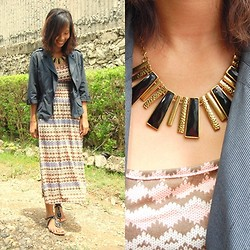 SalveeLangella Retuya - South Shores Statement Necklace, Maze Maxi Dress - Boho Rock