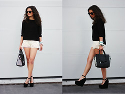 Anni *** - H&M Sweater, Romwe Shorts, Lookbookstore Bag, Nelly Wedges - Crochet shorts