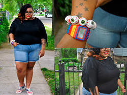 Tiffany Tucker - Kreepsville Eye Ball Bracelet, Asos Lego Watch, Vans American Flag Sneakers - Practice For Summer