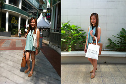 Ashley Liew - Padini Mint Sleeveless Top, Leopard Print Shorts, Vincci Camel Brown Flats, Proenza Shoulder Tote Bag - Minty leopard