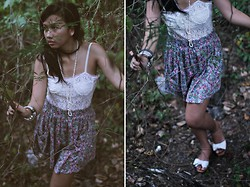 Virna Alyssa Cabuhat - Zara Floral Skirt, White Lace Corset, Sandals - Bows On My Feet