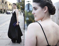 Charlie M - Ann Demeulemeester Ball Gown, 3.1 Phillip Lim Neoprene Clutch, Claire's Pearl Applique - PEARLS UP MY BACK
