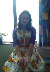 Britney Hazeldine - Dorothy Perkins 1950s Styled Dress, Thrifted Purple Cardigan, Great Grandmothers Pearls - At trip to the hospital as if it were 1953