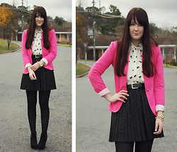 Emmy Leelahlou - Asos Elephant Print Blouse, Myer Pleather Pleated Skirt, Ebay Pink Blazer, Betts Wedge Boots - Pink Obsessed