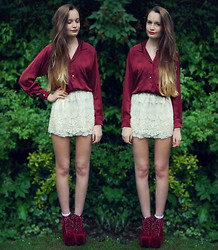 Imogen De Souza - Jeffrey Campbell Red Velvet Lita's, Lace Skirt, Calvin Klein Blouse - Lace and Red