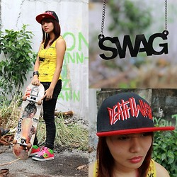 Janille Rose Olegario - Von Dutch Yellow Sleeveless, Megusta Shop Swag Necklace, Welegendary Deathwish Cap, Riot Shop Acid Black Pants, Zoo York Skate Shoes - Skater Girl ♥