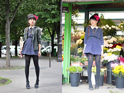 Leeloo P - Dress Kinji, H&M Flower, Shoes Emma Go, Maje Leather Jacket, Bag Sessun - Flower Power