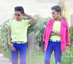Mc kenneth Licon - Oscar Magnuson Sunglasses, Tie Ups Belt, Luckybrand Denim Jeans - Neon Blocked
