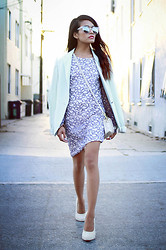 Olivia Lopez - Zara Mint Blazer, Coach Bag, Nasty Gal Sunglasses, Maurie & Eve White Calf Hair Pumps, Bec & Bridge Lilac Dress - The Perfect Summer Outfit