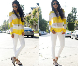 Sheryl L - Shoreline Knit Top, Zara White Denim, Halogen Loafers - DOUBLE CROSS