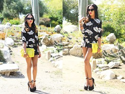 Amara nichole . - H By Halston, Motel Rocks Playsuit, Forever 21 Neon Bag - Motel Rocks!
