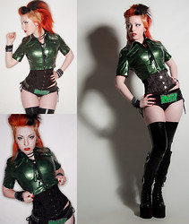 Phexxie Bizarre - Punk 69 Brocade Corset, Phaze Pvc Military Cropped Jacket, Kreepsville 666 Monster Buckle, Unbranded Wetlook Hotpants, Unbranded Latex Stockings, Penanngalan Smegg Platform Boots - Le Monster