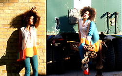 Julia Couture - Necessary Color Blocked Sleeveless Blouse, Urban Outfitters Turquoise Jeans, Platforms, Vintage Purse - Tangerine Dream in an Industrial Paradise