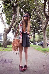 Anouska Proetta Brandon - Thequietriot.Sg Shirt, Viparo Skirt, Dr. Martens Shoes, Chic Wish Bag & Sunnies - Griffith Avenue.