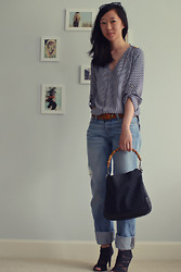 Alicia Jean - Zara Studded Shoulder Shirt, Levi's® 501 Boyfriend Jeans, Loeffler Randall Suede And Mesh Booties, Gucci Logo Tote Bag With Bamboo Handle, Tom Ford Nikita Cat Eye Sunglasses, Express Brown Belt - Casually striped