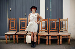 Kerry Lockwood - Ebay Black Brogues, Sister Jane White Polka Dot Dress, Ebay Vintage Cream Vanity Case, Brighton Flea Market Vintage Black Bowler Hat, Marks & Spencers Black Ankle Socks - Pull Up A Chair!