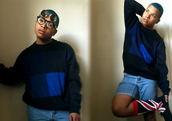 Ishmail Soto - H&M Flip Up Sunglasses, Color Block Crew Neck Sweater, Levi's® Diy Shorts, H&M Uk Flag Socks - Mercy