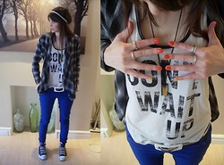 Gemma Davison - H&M Checked Loose Jacket, Miss Selfridge Slogan Tank, Dorothy Perkins Coloured Jeans - Don't Wait Up!