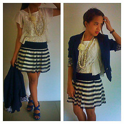 MIMI MAGNAIT - Sm Fashion Ladies White Lace Top, Forever 21 Necklace Piece, From Sister's Closet Stripes Skirt, Zara Blue Shoes, From Sisters Blue Blazer - 121: Lacey vs Stripe-y