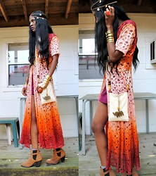 VintageVirgin Jessica - Evil Twin Neon Ombre Lace Dress, Beginning Boutique Ryder Boots, Diy Vintage Coin Chain Headpiece, Vintage Beaded Elephant Bag, Forever 21 Gold Cuff - EVIL TWIN