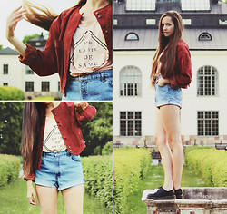 Karin Bylund - Suede Jacket, The Orphan's Arms Top, Levi's® Jeans Shorts, Dr. Martens Shoes - IF I HAD A HEART I COULD LOVE YOU.
