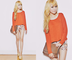 Tricia Gosingtian - Forever 21 Top, Wedges, Clutch, Shorts - 060612