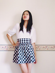 Michelle Louissant - Veronika Maine White Blouse, H&M High Waisted Checkered Skirt - Afternoon games