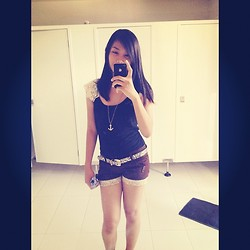 Lyka Bongais - Apple Iphone 4s, Sm Dept. Store Lace Top, Forever 21 Anchor Necklace, People Are Cheetah Belt, Importeids Shorts - Selca on the mirror :)