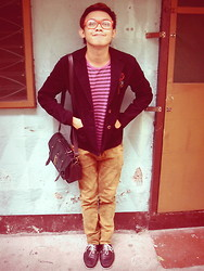 Chino Carlo Aricaya - Thrifted Purple Corduroy Blazer, Mogao Bront Velvet Pants, The Ramp Black Leather Messenger Bag, Milanos Black Leather Boat Shoes, Thrifted Purple Striped Tee - Prim and Preppy