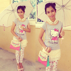 Lyka Bongais - Importeids Collar, Hello Kitty Top, Preppy Lace Skirt, Bangkok,Thailand Candy Bag, Leggings, Céline Floral Wedges - Lovely Day :)