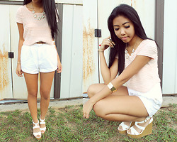 Sharena C. - Forever 21 Light Pink Crop Top, Thrift Store White Shorts, Charlotte Ruuse White Wedges - Light Pink
