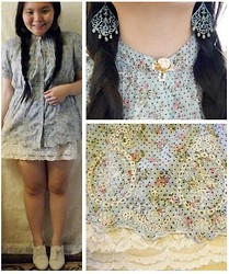 Lee.Sze ♥ - Blue Baby Doll Top, Lace Dress As A Skirt, White Oxfords, Vintage Chandelier Earrings, Diy Flower Brooch - (❤◡‿◡)