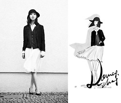 Nancy Zhang - Chanel Jacket, Dries Van Noten Heels, Hugo Boss Skirt, Hugo Boss Shirt - The little black jacket.