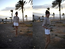 Caroline G - Mango Blouse, Zara White Shorts, Tommy Hilfiger Moccasins, Sequin Clutch - Breathe again