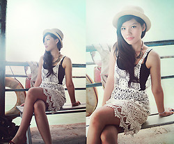 Liana Wibowo - Unbranded Lace Dress, Fareast Vintage Straw Hat - Turquoise Sea Inspired!