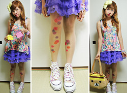 Kaila Ocampo - Shimamura Spring Sneaker Platforms, Tiara By Tracy Dizon Lemon Yellow Bow, Bee Rilakkuma, Bodyline Perwinkle Ruffles, Flower Power Top, Shibuya 109 Floral Tatoo Tights - Flowers and Rilakkuma