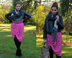 Yeliz S - Mango Scarf, Minkpink Leather Jacket, Opshop Vintage Skirt, Zara Top - Channeling Chanel?