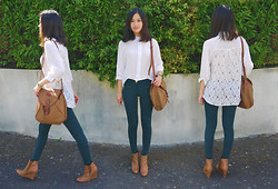 Anne - Lace Back Asymmetric Shirt, Guess? Watch, Vintage Bag, Promod Pants, Minelli Wedges - Into your world