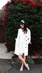 Brigitte Bell - S Blue Scarf, Better Be White Coat, Very J Asymetrical Dress, Studio 1220 Python Print Sandals - Sunday Afternoon