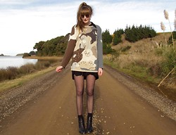 Amy Dunn - Vintage Seal Sweater, Topshop Sunglasses, Italian Riding Boots - Sea lion
