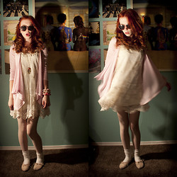 Zoe C - Knit Cardigan, Lace Dress, Necklace, Floral Lace Tights, Heart Shaped Glasses - Baby baby baby, i think we'd have a good time