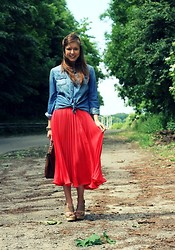 Kim S. - H&M Denim Shirt, Vintage Red Maxi Skirt, Zara Sandals - Red Maxi