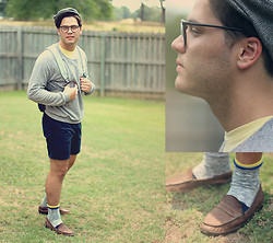 Dylan Campbell - Gap Wool Socks, Topman Penny Loafers, Thrift Store, Oklahoma Herringbone Hat, Bdg Crew Neck T Shirt, American Apparel Herringbone Sweater, American Apparel Short Shorts - Herringbone Break