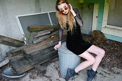 Megan Brigance - Thrifted Velvet And Mesh Dress, Urban Outfitters Combat Boots - 100th look!